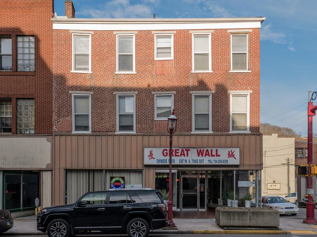 Photo of building at 201 West Main Street, Monongahela, Pa. 15063 along rt 88 and rt 136. Photo property of the Monongahela Main Street Program.