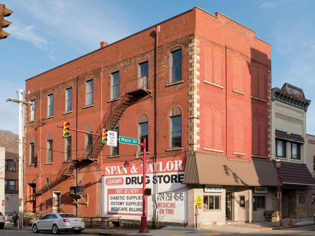 Photo of building at 175 West Main Street, Monongahela, Pa. 15063 along rt 88 and rt 136. Photo property of the Monongahela Main Street Program.