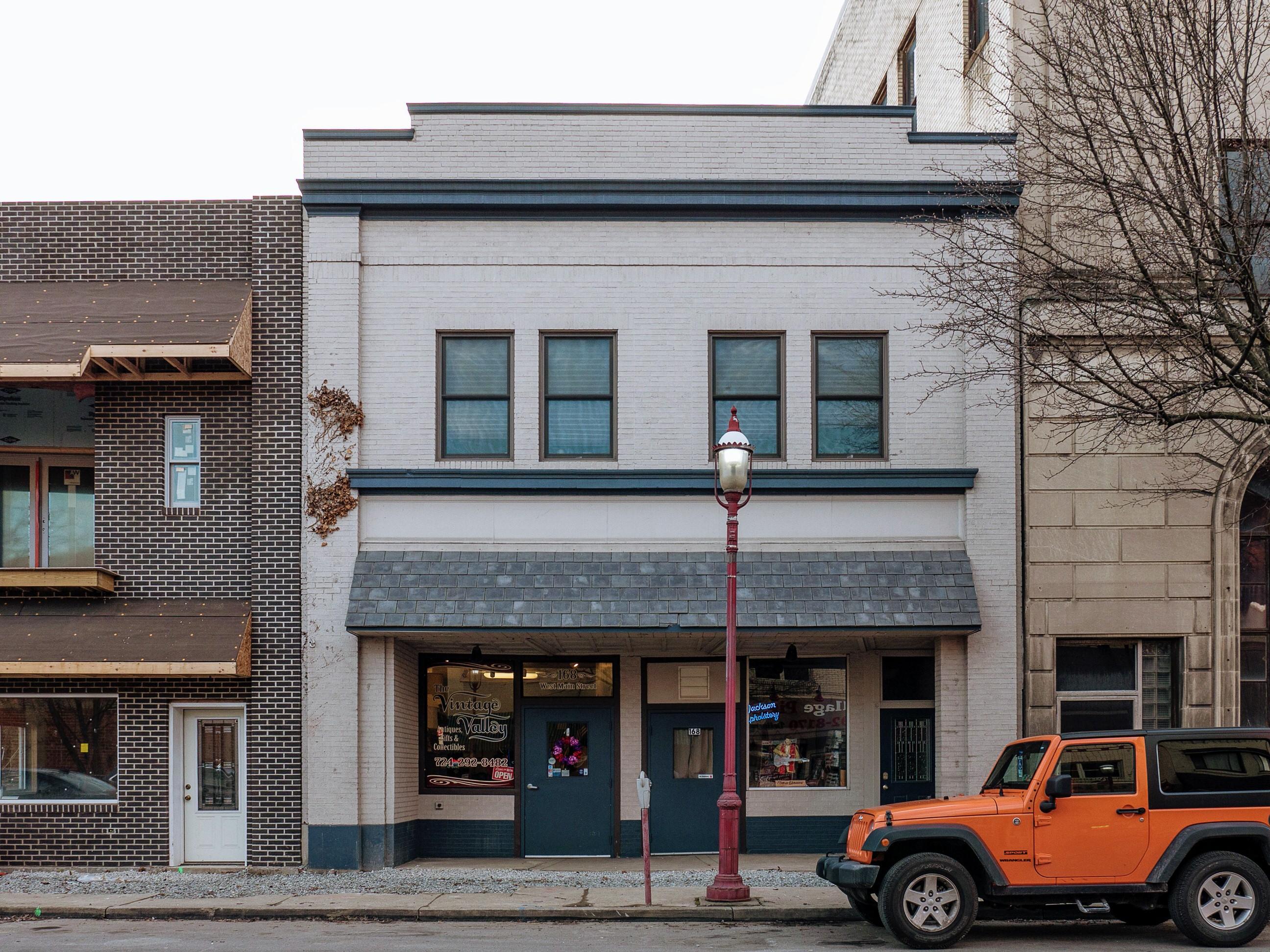 Photo of building at 168 West Main Street, Monongahela, Pa. 15063 along rt 88 and rt 136. Photo property of the Monongahela Main Street Program.