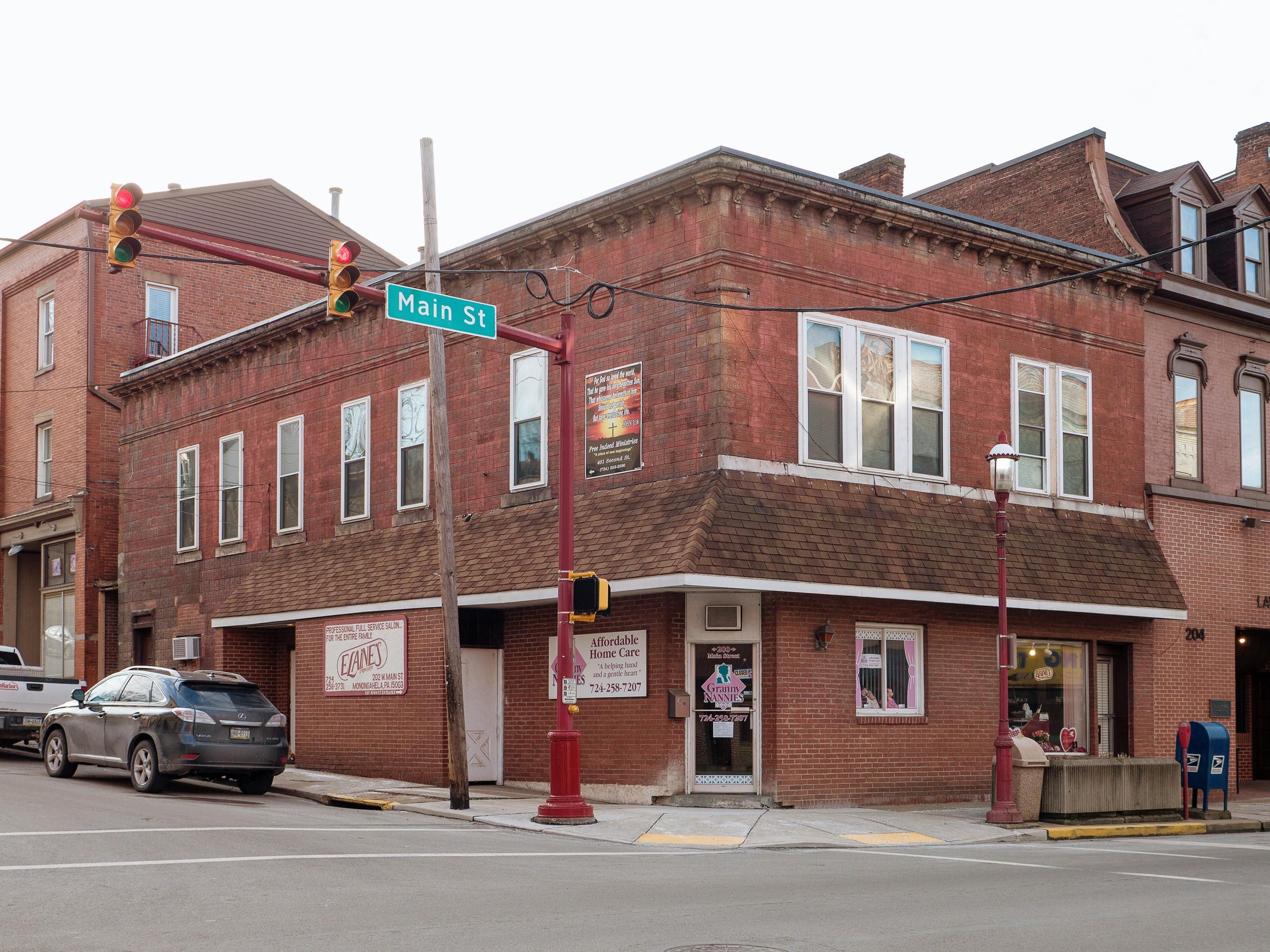 Photo of building at 200 - 202 West Main Street, Monongahela, Pa. 15063 along rt 88 and rt 136. Photo property of the Monongahela Main Street Program.