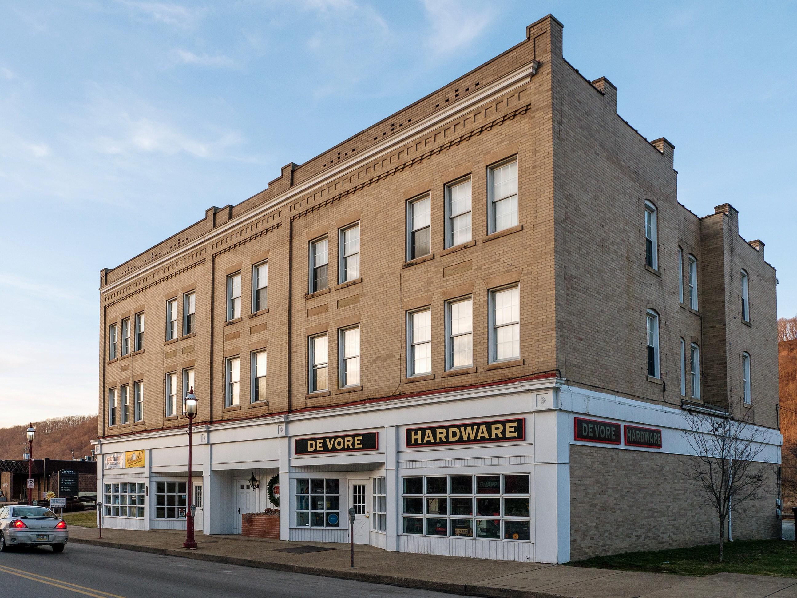 Photo of building at 437 - 443 West Main Street, Monongahela, Pa. 15063 along rt 88 and rt 136. Photo property of the Monongahela Main Street Program.