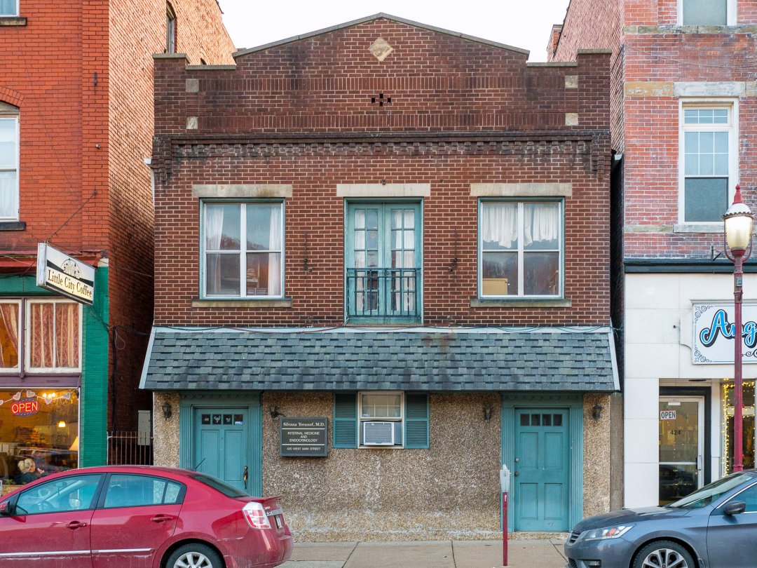 Photo of building at 420 - 422 West Main Street, Monongahela, Pa. 15063 along rt 88 and rt 136. Photo property of the Monongahela Main Street Program.