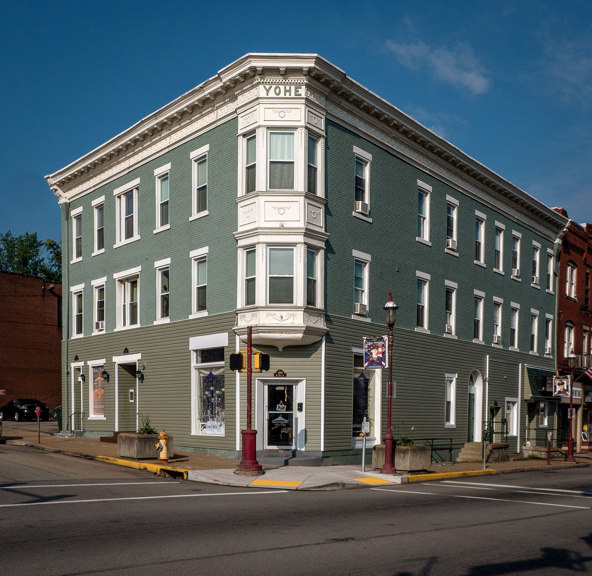 Photo of building at 400 - 408 West Main Street, Monongahela, Pa. 15063 along rt 88 and rt 136. Photo property of the Monongahela Main Street Program.